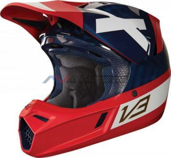 Casco Fox V3 Preest Navy-Red