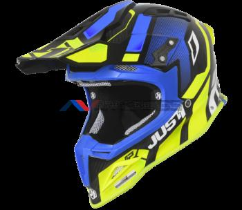 Casco Just1 J12 Vector Fluo Yellow-Blue-Carbon
